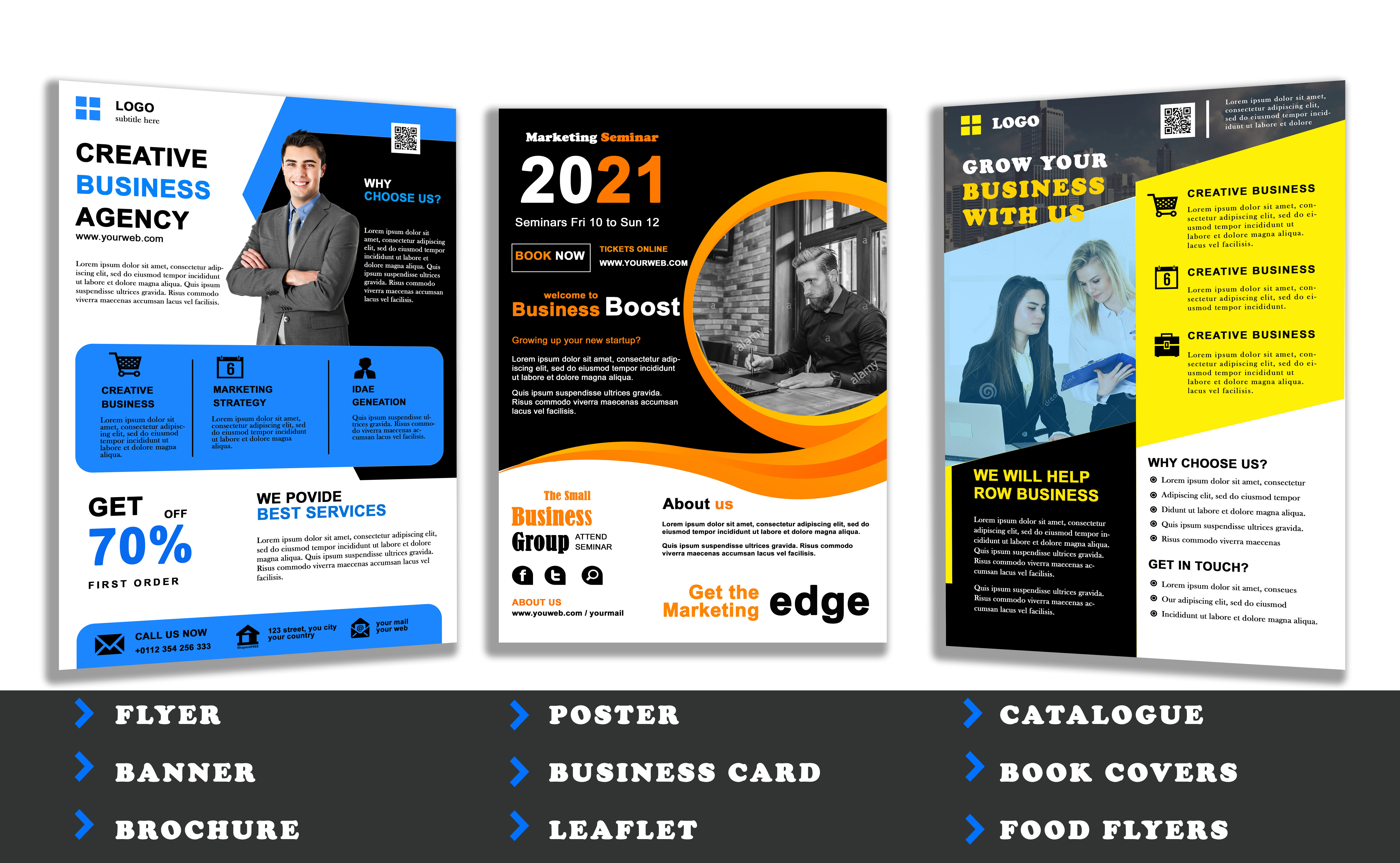 I will design impressive business flyers,  brochures,  business cards within 12 hours