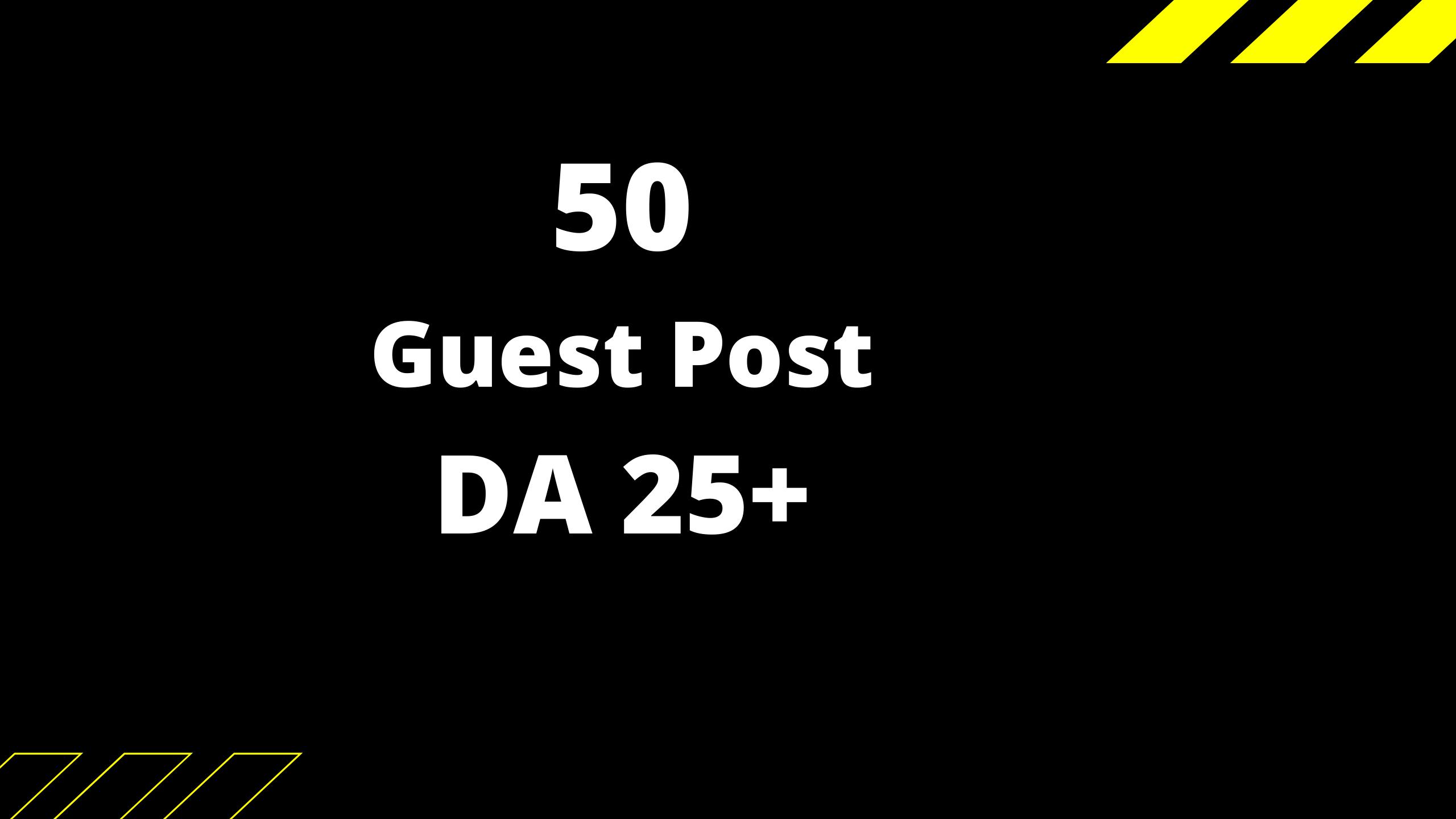 Get 5 guest post unique and actual websites DA 25+ granted.