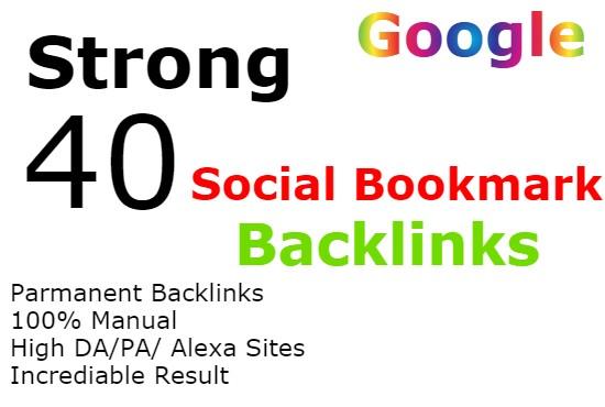 I will create 40 social bookmarking backlinks manually