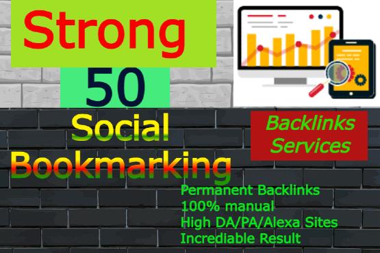 I will create 50 social bookmarking backlinks manually