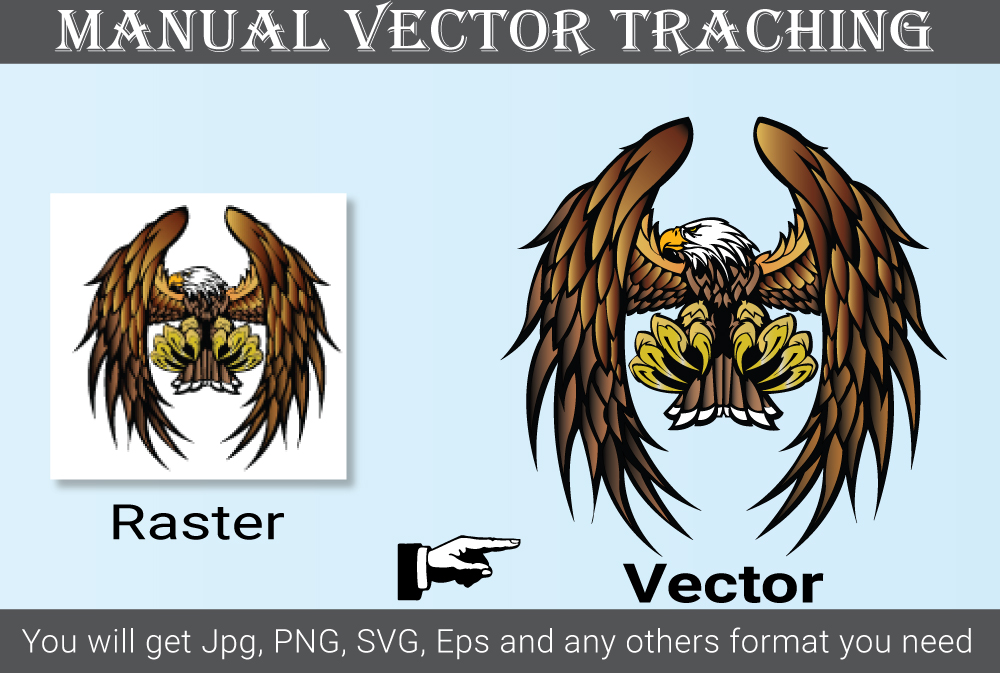 i will do, vector tracing logo redraw,  Recreat the image in ai,  eps,  SVG format
