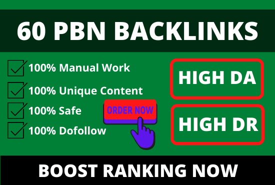 I will post 60 PBN backlinks from high da dr tf cf websites