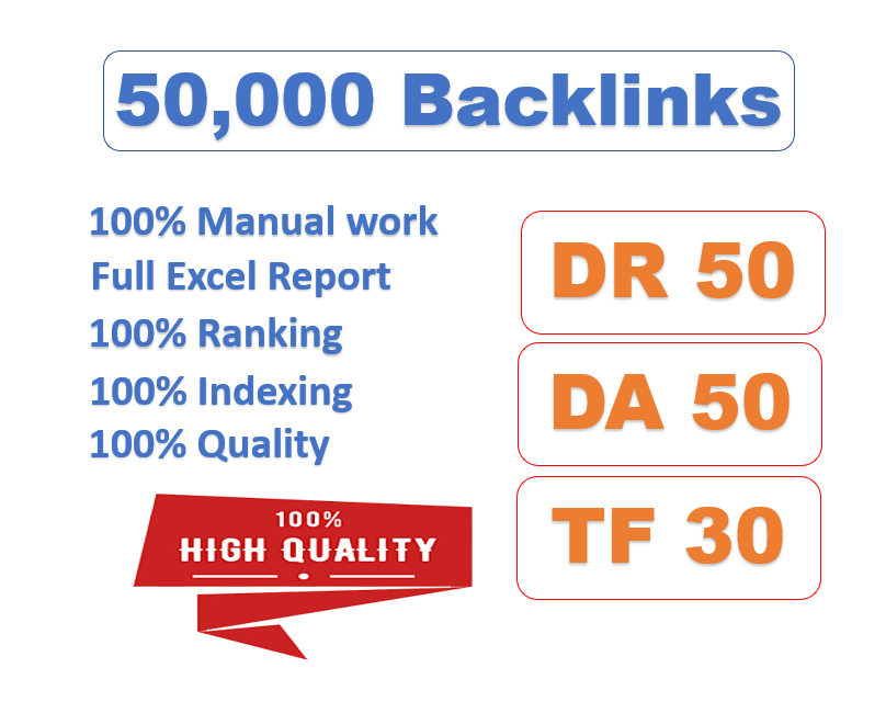 I will create 1,000 high quality links with high DR,  da pa,  tf cf