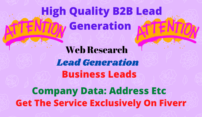 Find 100 targeted b2b lead generations on your niche