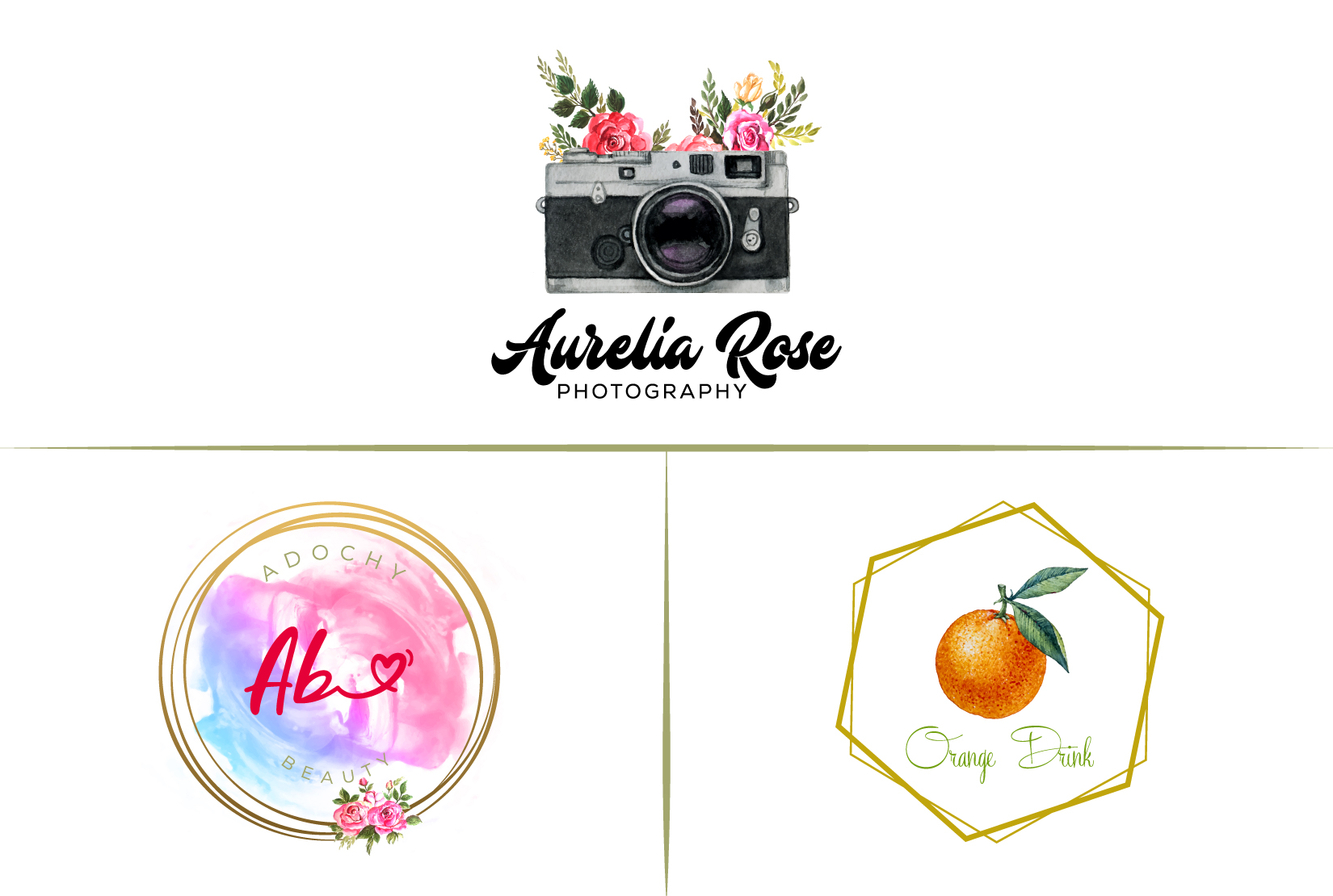 I will design feminine watercolor logo for your brand in 24 hours