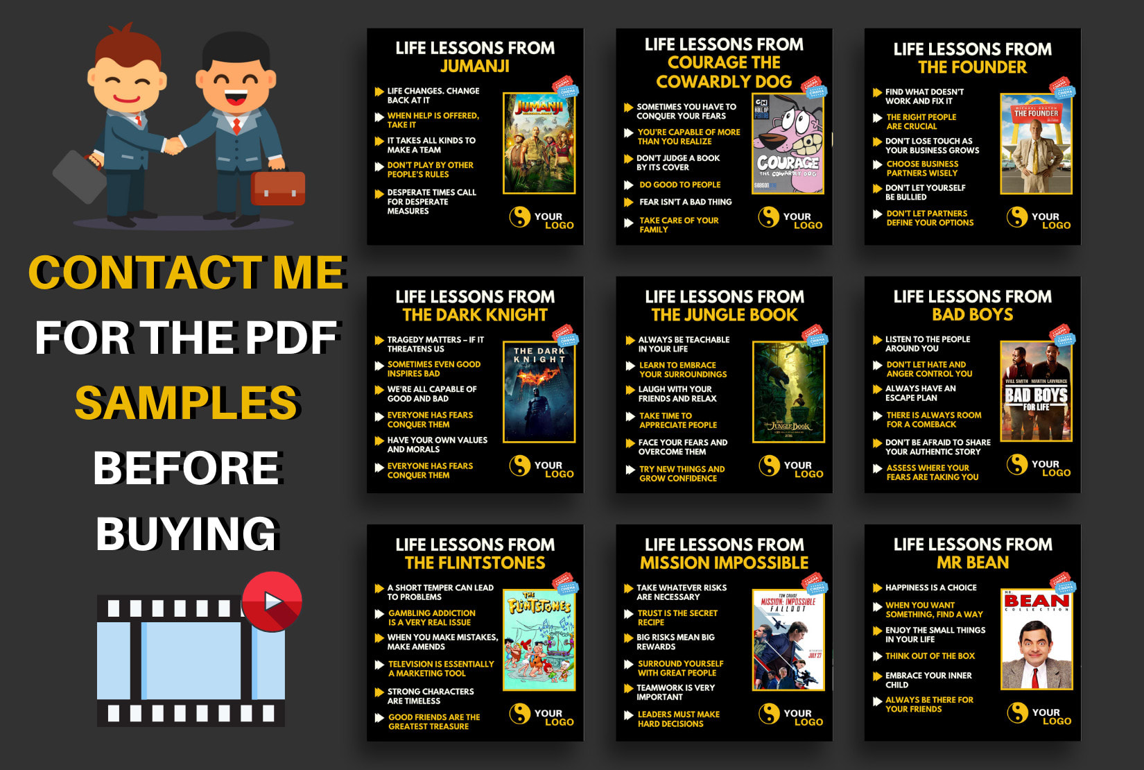 I will design 100 lesson from movies infographics quotes for instagram