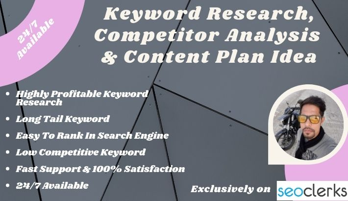 Research profitable keyword for your content,  Content idea & analyze your competitor
