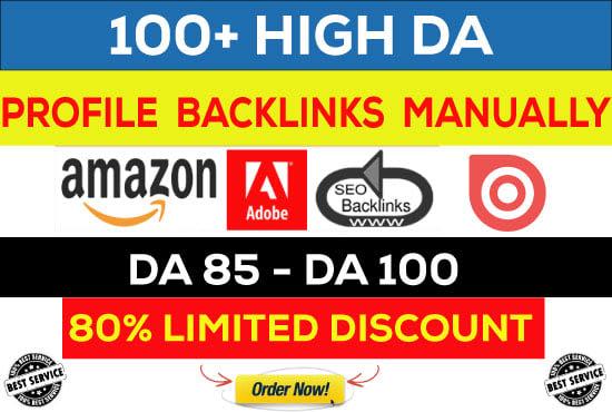 Manually create 100 pr9 dofollow profile backlink for your website