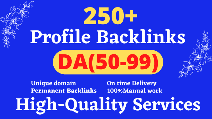 Manually create 250 pr9 dofollow profile backlink for your website