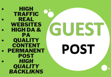 Manually 10 Guest Posts On High Metrics Unique Blogs,  Skyrocket Your Website