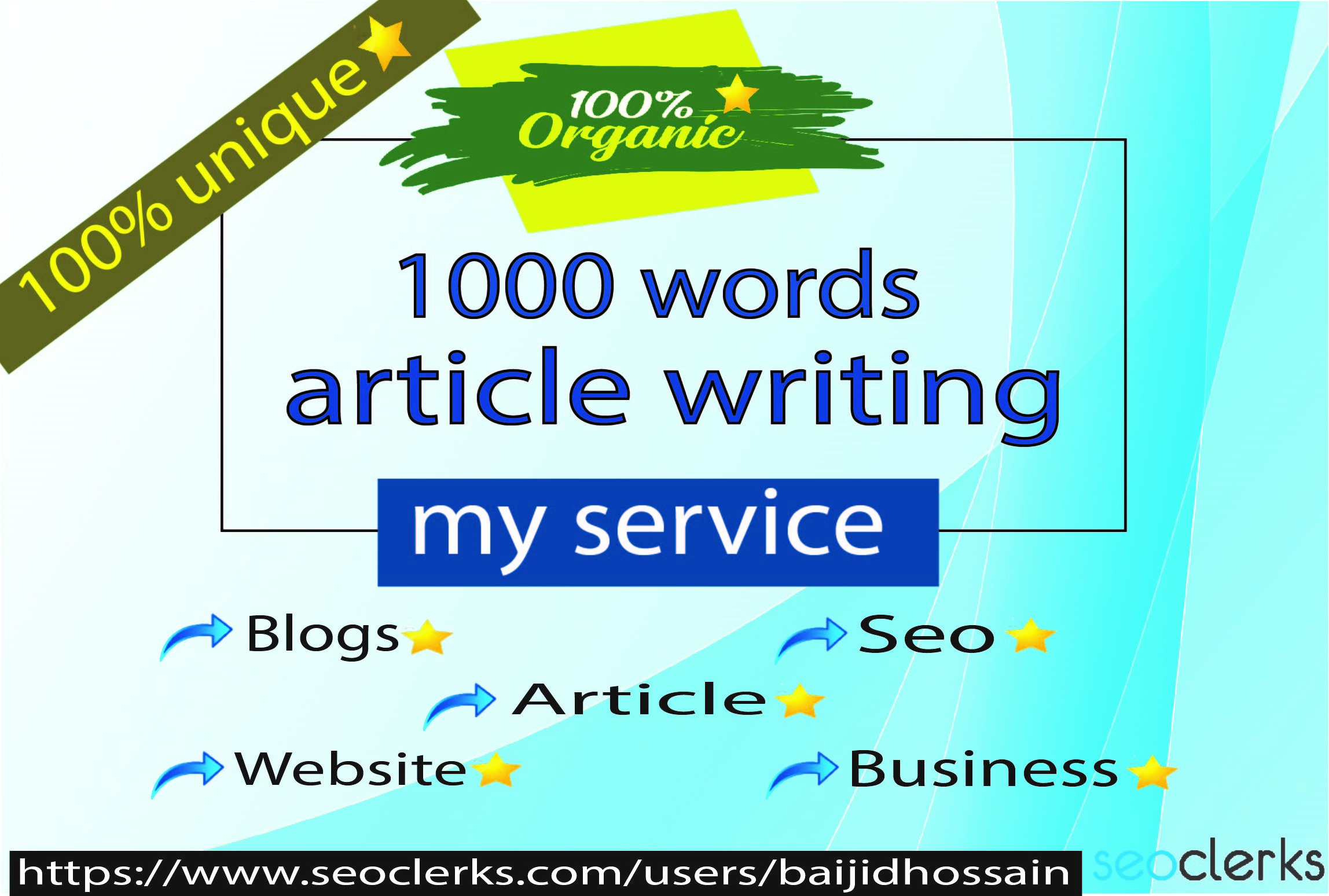 I will write article with 1000+ unique words