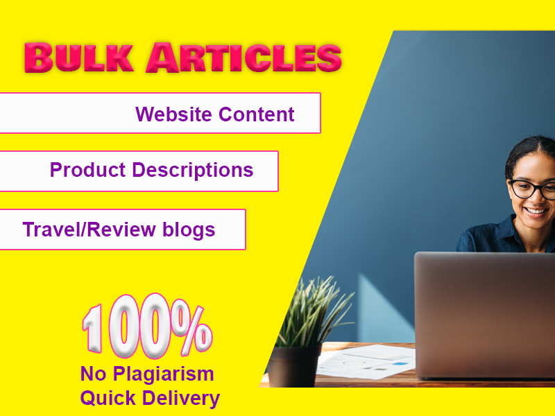 10x1000+ Words Bulk articles for your niche