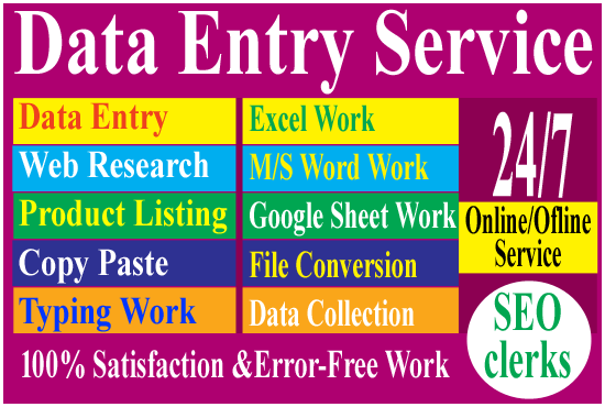 I will provide data entry,  copy paste and excel data entry work for you
