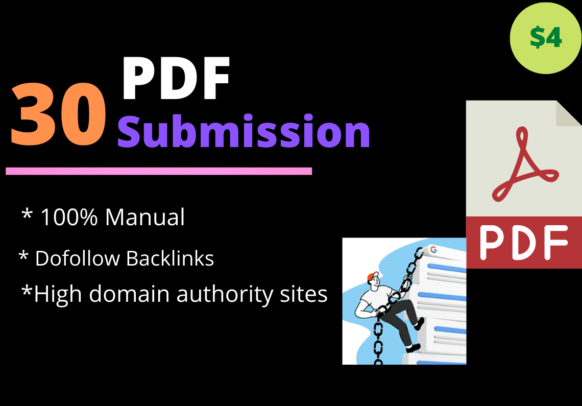 I will provide 30 PDF submission to top document sharing sites with high DA,  PA