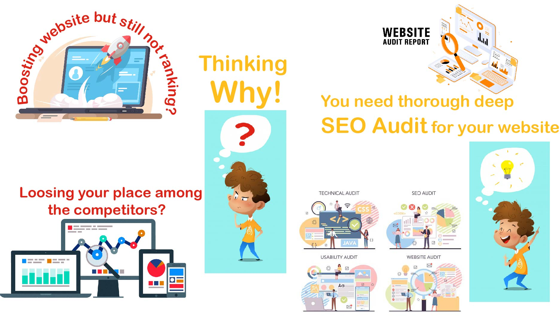 Detailed SEO Audit report,  competitors analysis and action tips
