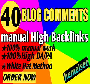 I will do manually create 40 blog comments Backlinks