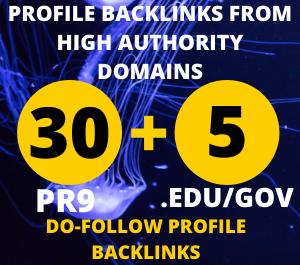 I will Create 30 Pr9 + 5 Edu/Gov Dofollow DA 85+ SEO profile backlinks