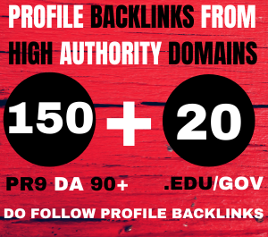 I will manually create 150 pr9 profile backlinks +20 EDU/GOV BACKLINKS from High-quality websites