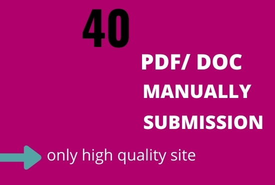 I will do pdf and doc submission manually on the high doc sharing site.