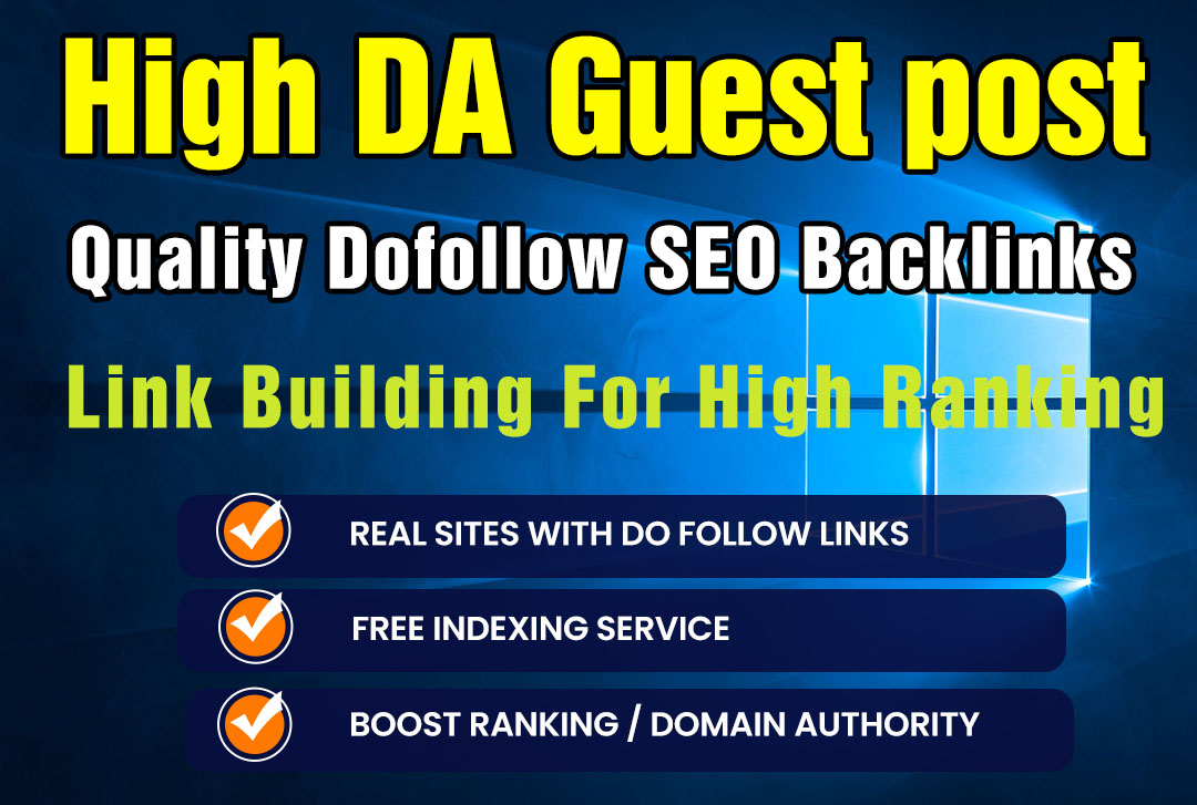 I will create high quality dofollow SEO backlinks link building for high ranking