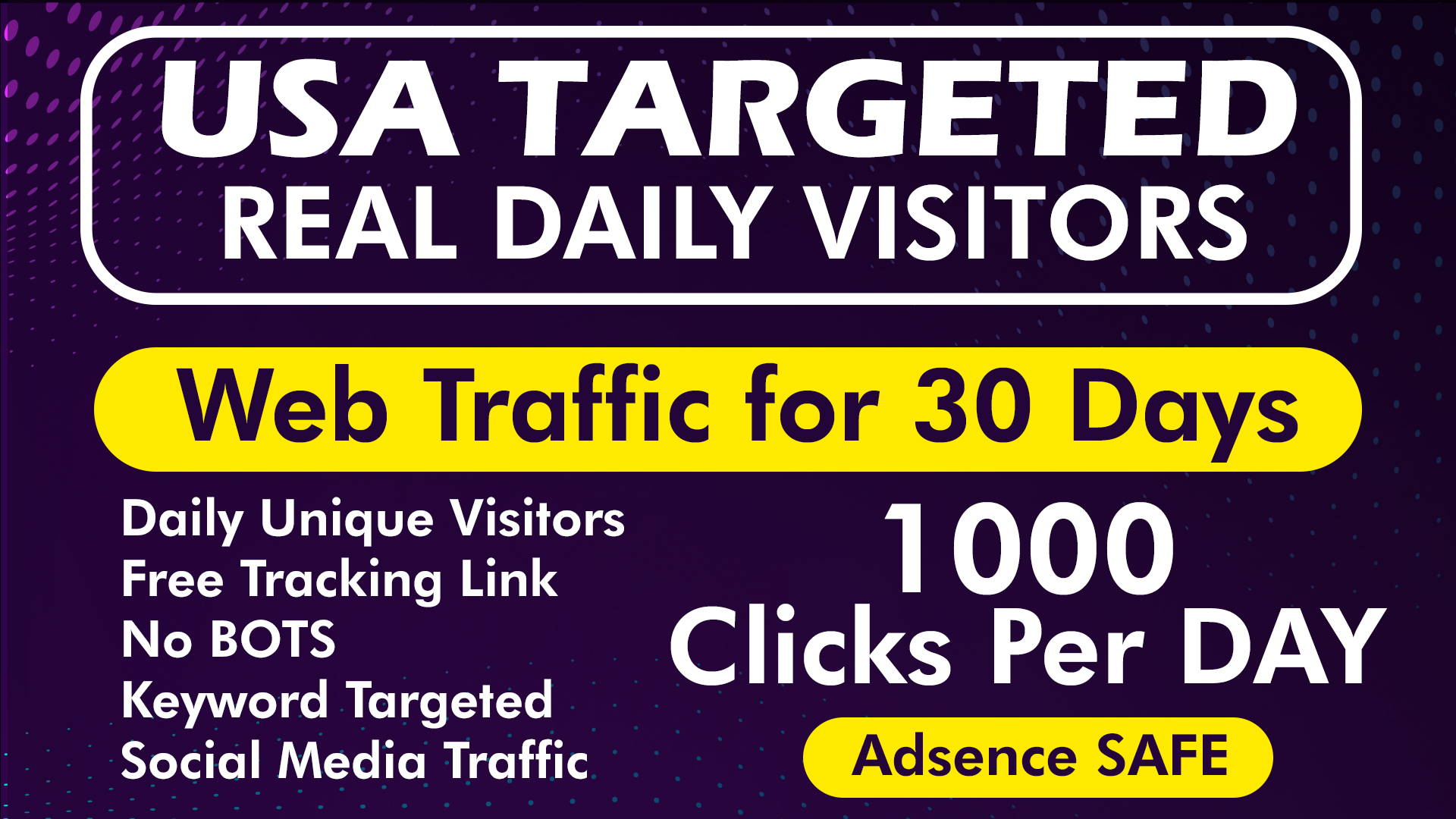 Drive USA Targeted Real Human Daily Visitors NO BOTS with Tracking Link