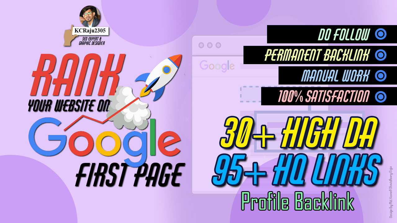 Do You Want to Rank Your Website on Google 1st Page 30+ High DA 95+ HQ Backlinks to RANK