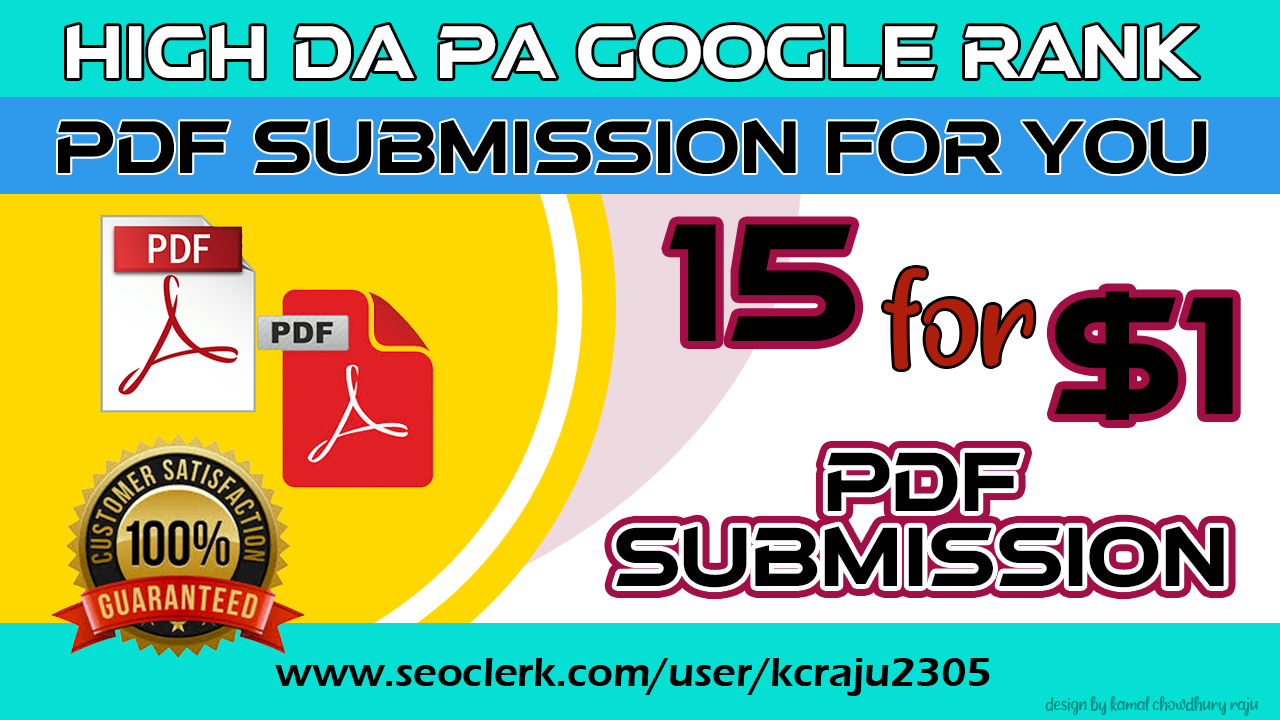 15 HQ Do Follow PDF Submission Backlinks with High TF/CF & DA/PA