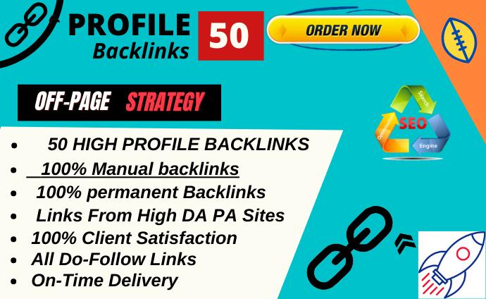Rank on google 1st page with 50 High DA profile Backlinks