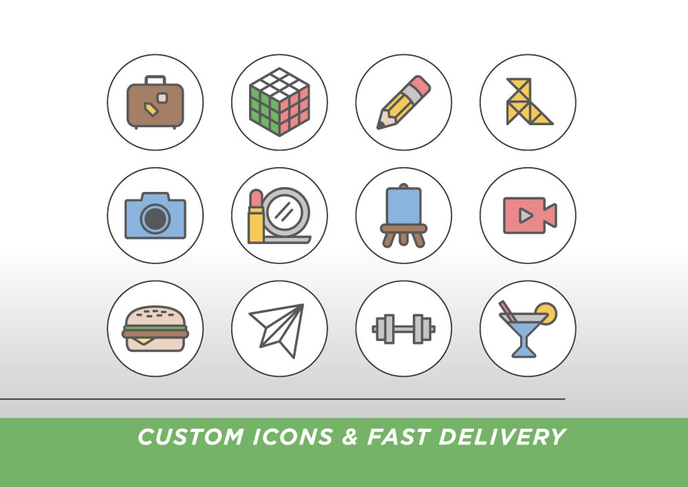 I will design a custom icon set for your website or app