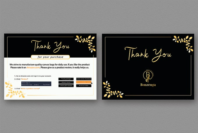 I will design amazon thank you card,  product insert,  package insert