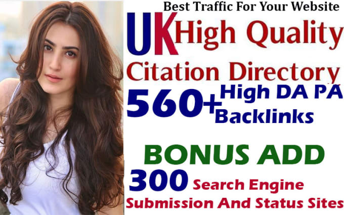 I will do 560 high authority UK directory submission and 400 search engine submission
