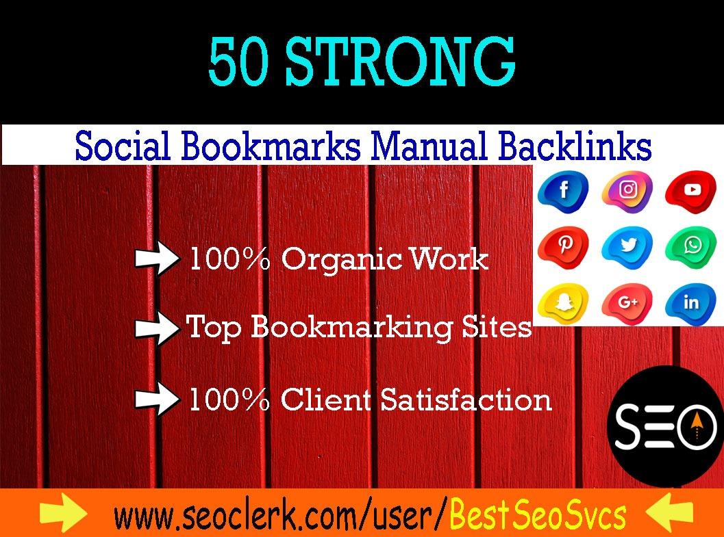 I will do 50 social bookmarking on high da backlinks
