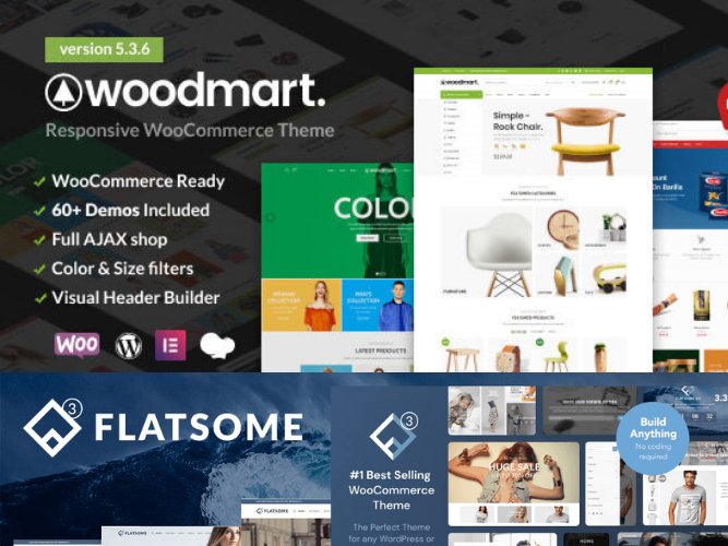 Create woocommerce website and multi vendor website using woodmart theme and flatsome theme