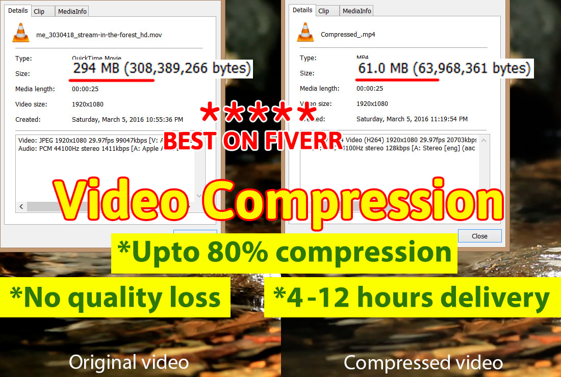 I will compress or reduce the file size of your video