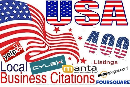I will do business listing,  local citations,  local listing for USA