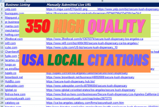 I will add you business on top USA local citations and directories
