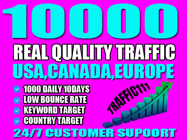 I will send target real traffic from Usa, Canada, Europe