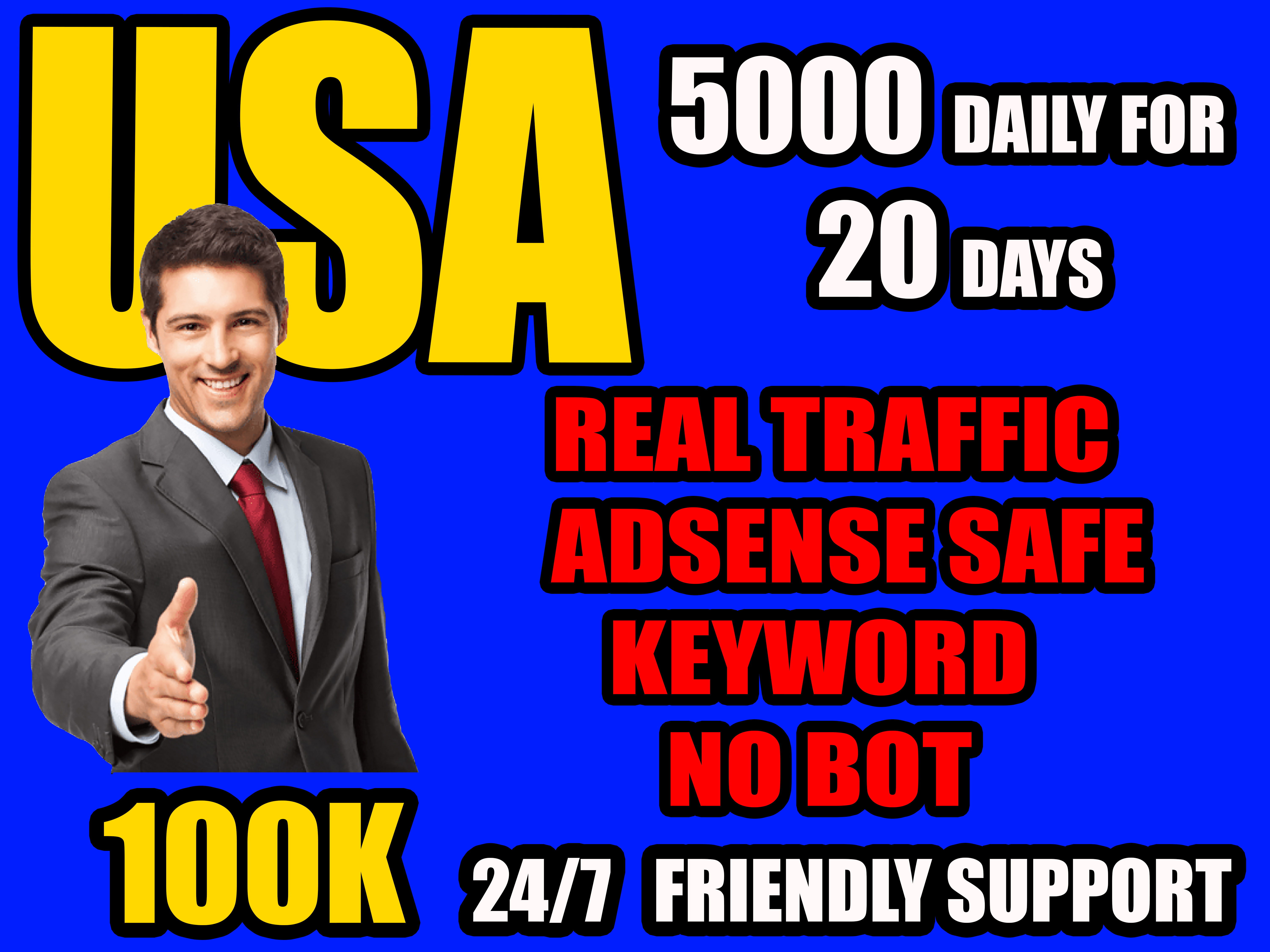 I will send website target real traffic from USA