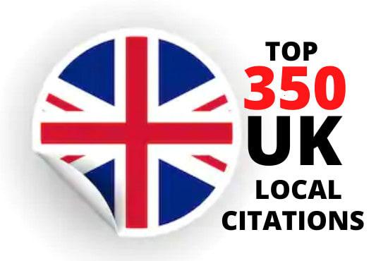 I will create 350 UK local citation listings for local SEO
