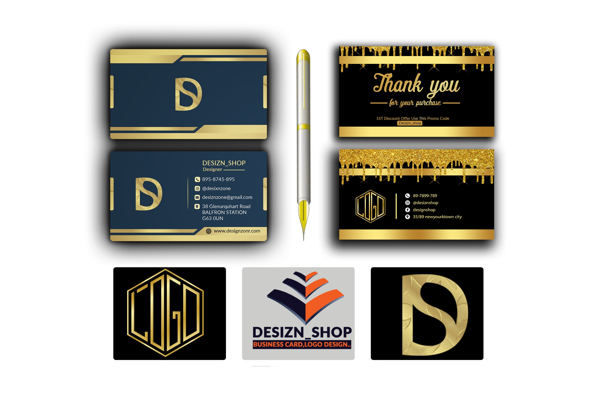 I will do top luxury,  modern,  business card and logo design