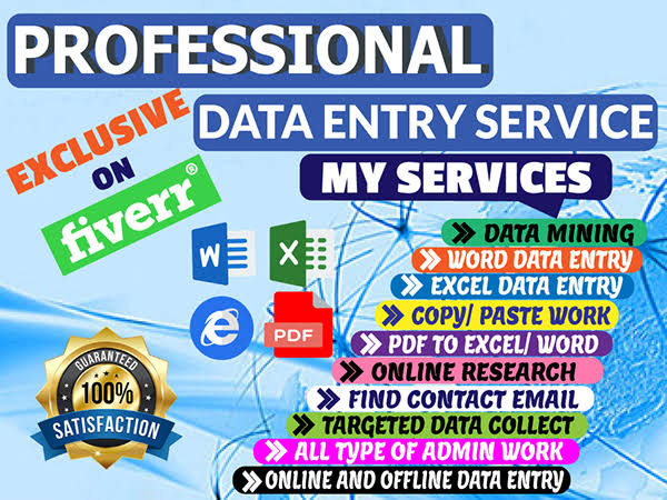 I will do data scriping,  data entry, web research