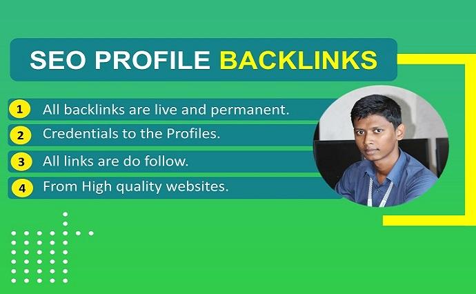 Provide 100 high quality DA PA,  Do follow SEO profile backlink manually.