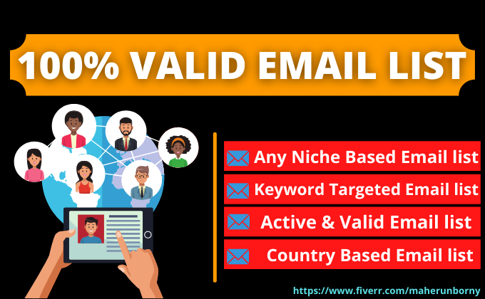 Provide 5k targeted Email list for preferred Niche and Location