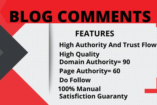 I will create 100 Manually high quality Do follow Blog comments SEO backlinks