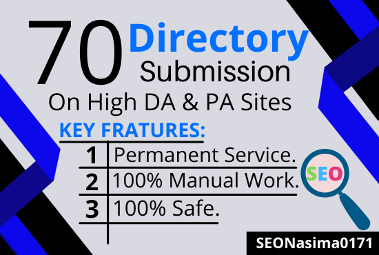 Create 70+ unique directory submission with high DA PA backlinks