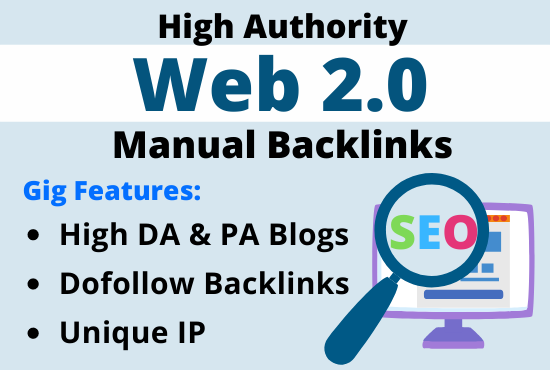 Create 50+ manually dofollow web 2 0 backlinks