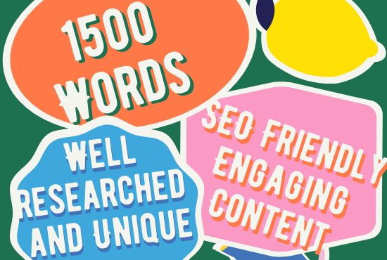 write a 1500 word unique and SEO friendly article, blog, content for you.