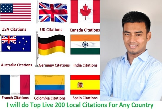 I will do 30 top live local citations for any country