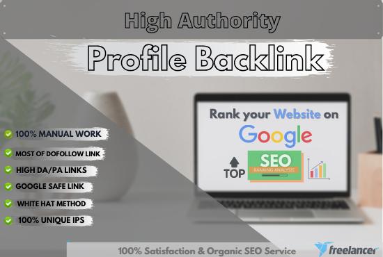 I will do 70 high domain authority SEO dofollow profile backlinks