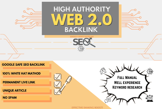 I manually create 50 High Authority Web 2.0 backlink